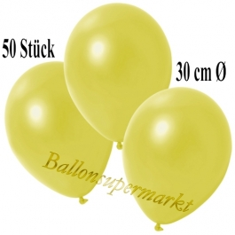 Deko-Luftballons Metallic Gelb, 50 Stück