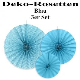 Deko-Rosetten, Blau, 3 Stück-Set