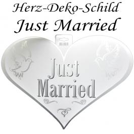 Herz-Deko-Schild Just Married, Hochzeitsdekoration, Türdeko