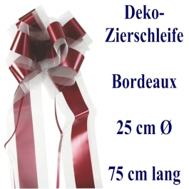 Schleife, Deko-Schleife, Zierschleife, 25 cm groß, Bordeaux