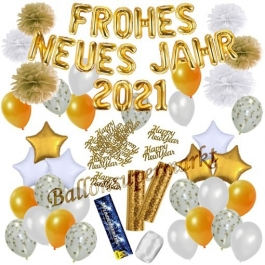 Silvester Dekorations-Set mit Ballons Frohes neues Jahr 2021 White & Gold, 49 Teile