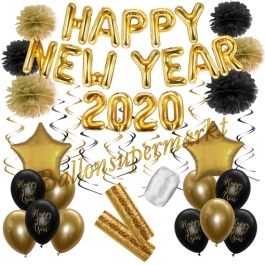 Silvester Dekorations-Set mit Ballons Happy New Year 2020 Black & Gold, 32 Teile