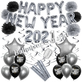 Silvester Dekorations-Set mit Ballons Happy New Year 2021 Black & Silver, 32 Teile