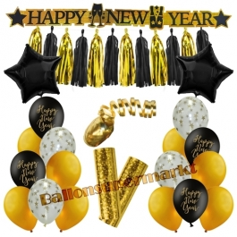 Silvester Dekorations-Set mit Ballons Happy New Year Black & Gold, 23 Teile