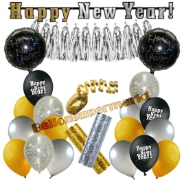 Silvester Dekorations-Set mit Ballons Happy New Year Glamour, 23 Teile