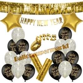 Silvester Dekorations-Set mit Ballons Happy New Year Gold, 23 Teile
