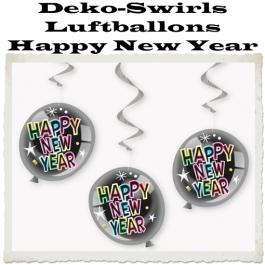 Deko-Swirls Luftballons Happy New Year, Silvester Dekoration, Partdeko, Silvesterdeko