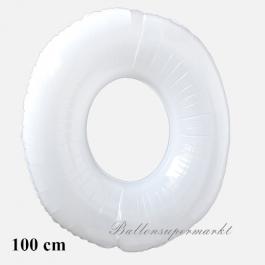 Großer weißer Luftballon aus Folie, Zahl 0