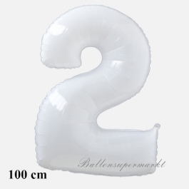 Großer weißer Luftballon aus Folie, Zahl 2