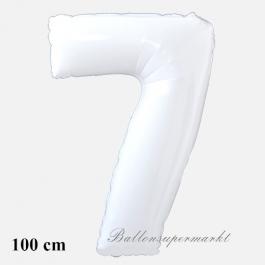 Großer weißer Luftballon Zahl 7