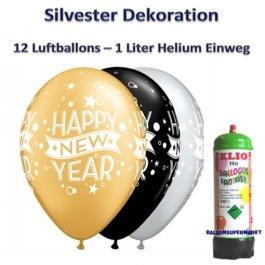 Dekoration Silbester: 12 Luftballons Happy New Year mit 1 Liter Ballongas Einweg