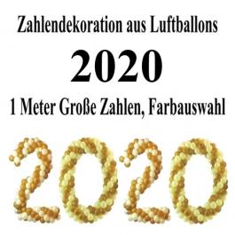 Zahlen aus Luftballons, Jahreszahl 2020, Dekoration Silvester, Silvesterdeko, Partydekoration Neujahrsfeier
