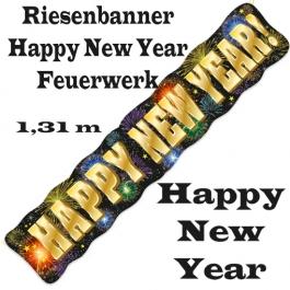 Dekoration Silvester Riesenbanner Happy New Year Feuerwerk, Silvesterdeko, Neujahrs-Banner