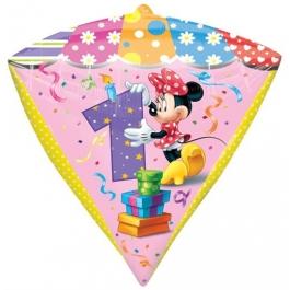 Diamond Shaped Luftballon aus Folie Minnie Mouse zum 1. Geburtstag