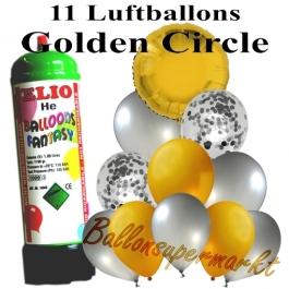 Ballons und Helium Mini Set, Golden Circle mit Einwegbehälter