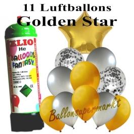 Ballons und Helium Mini Set, Golden Star mit Einwegbehälter