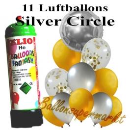 Ballons und Helium Mini Set, Silver Circle mit Einwegbehälter
