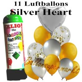 Ballons und Helium Mini Set, Silver Heart mit Einwegbehälter