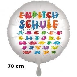 Endlich Schule. Luftballon aus Folie, 70 cm, inklusive Helium, Satin de Luxe, weiß