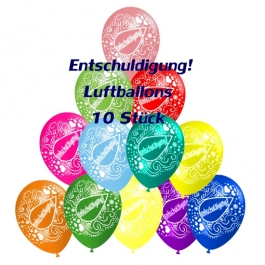 Motiv-Luftballons Entschuldigung, bunt gemischt, 10 Stueck
