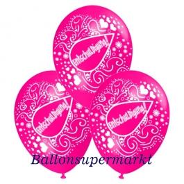 Motiv-Luftballons Entschuldigung, pink, 3 Stueck