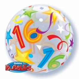 Bubble Ballon zum 16. Geburtstag, mit Helium