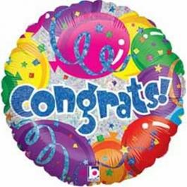 Congrats, holografischer Jumbo Luftballon aus Folie