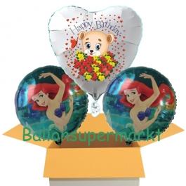 3 Luftballons aus Folie zum Geburtstag mit Arielle und Baerchen