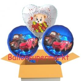 3 Luftballons aus Folie zum Geburtstag mit Cars und Baerchen