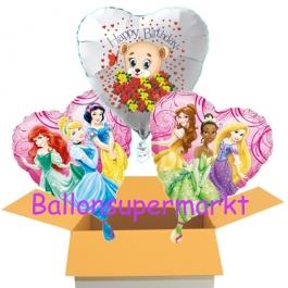 3 Luftballons aus Folie zum Geburtstag mit Disney Prinzessinnen und Baerchen