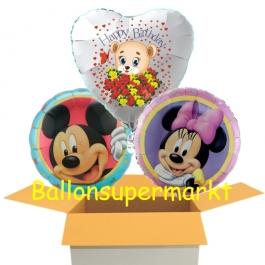 3 Luftbaloons aus Folie, Mickey Maus, Minnie Maus und Happy Birthday Baerchen , inklusive Helium