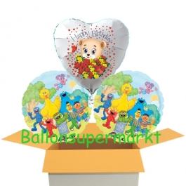 3 Luftballons aus Folie zum Geburtstag Sesamstrasse