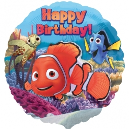 Happy Birthday Nemo Luftballon mit Helium Ballongas zum Kindergeburtstag