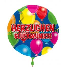 Herzlichen Glückwunsch , Luftballon aus Folie mit Ballongas