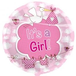 Luftballon mit Helium zu Geburt und Taufe eines Mädchens: It's a Girl, Storch, Waescheleine