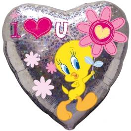 Herzluftballon Tweety Love You Forever, holografisch, ohne Helium-Ballongas