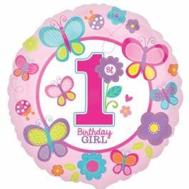 Luftballon aus Folie zum 1. Geburtstag eines Maedchens, 1st Birthday Girl