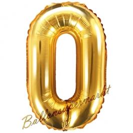 Luftballon Zahl 0, gold, 35 cm