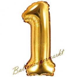 Luftballon Zahl 1, gold, 35 cm