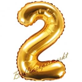 Luftballon Zahl 2, gold, 35 cm