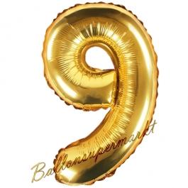 Luftballon Zahl 9, gold, 35 cm