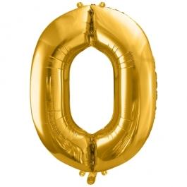 Luftballon Zahl 0, gold, 86 cm