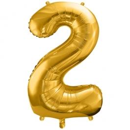 Luftballon Zahl 2, gold, 86 cm