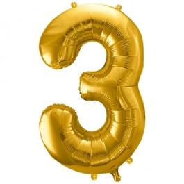 Luftballon Zahl 3, gold, 86 cm