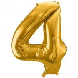 Luftballon Zahl 4, gold, 86 cm