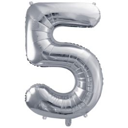 Luftballon aus Folie, Zahl 5, Silber