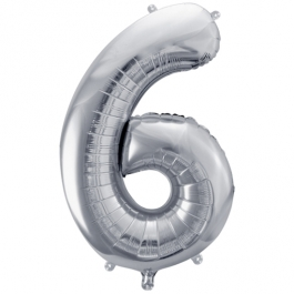 Luftballon aus Folie, Zahl 6, Silber
