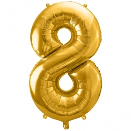 Luftballon Zahl 8, gold, 86 cm