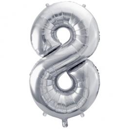 Luftballon aus Folie, Zahl 8, Silber