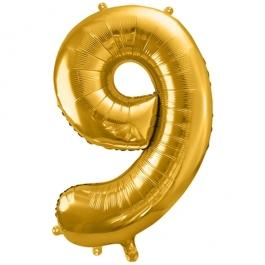 Luftballon Zahl 9, gold, 86 cm